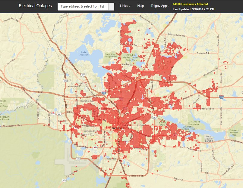 Power Outage Map Tallahassee City of Tallahassee on Twitter: