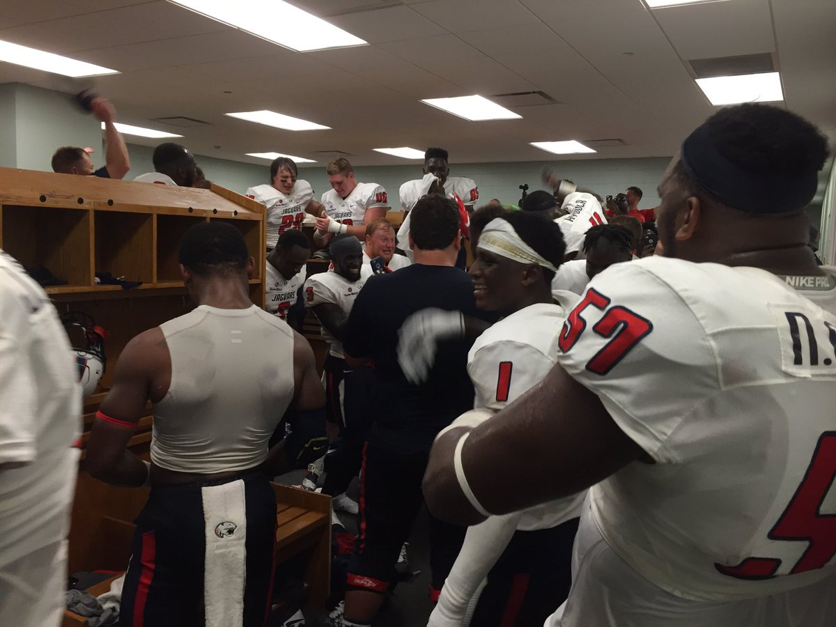 This is what it looks like in the @JagsFootball locker room right now #JagNation #WeAreSouth https://t.co/ZiS1pbubdH