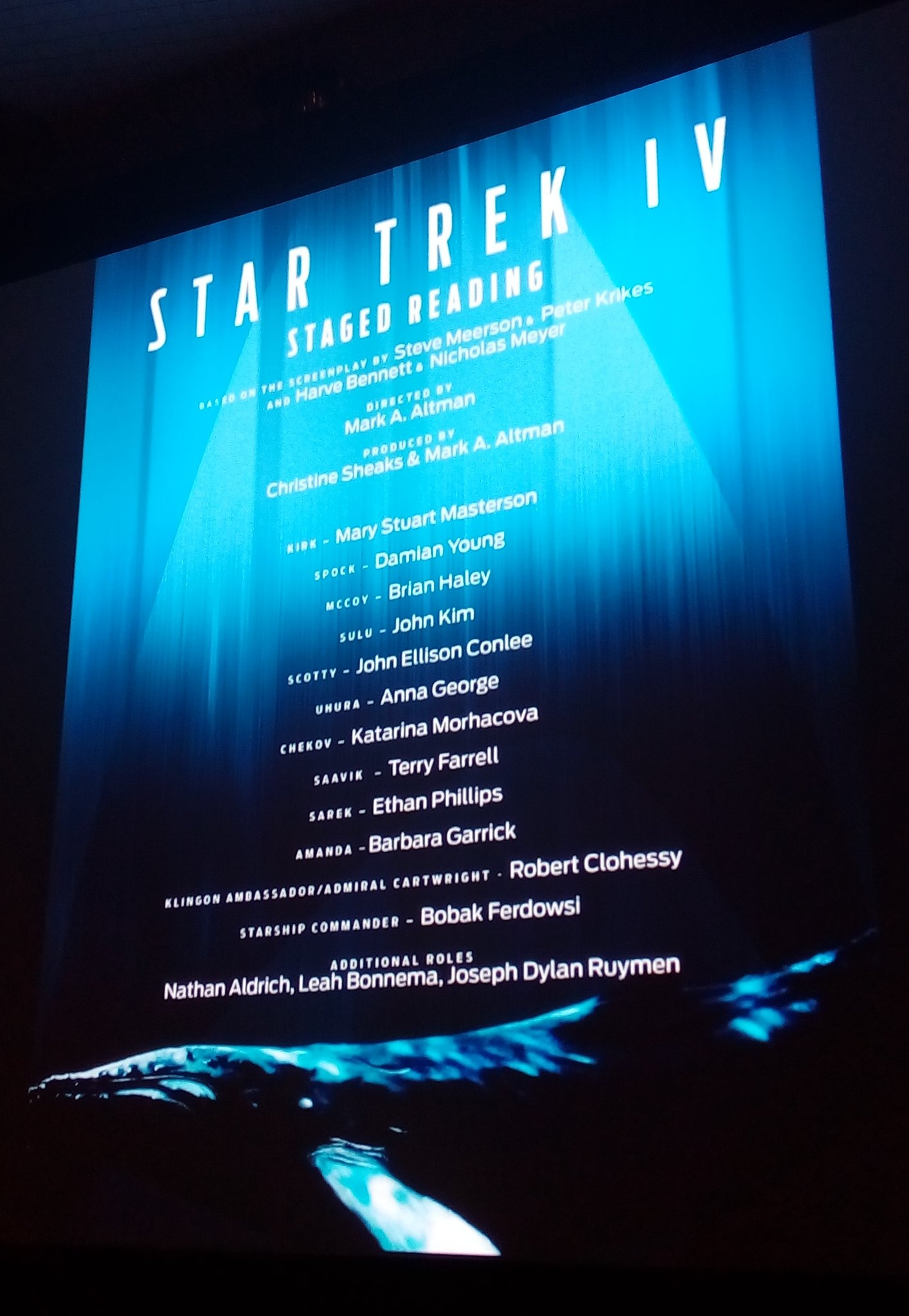 Your cast list for today's staged reading of Star Trek IV at #StarTrekNY https://t.co/3zyB9QLSOe