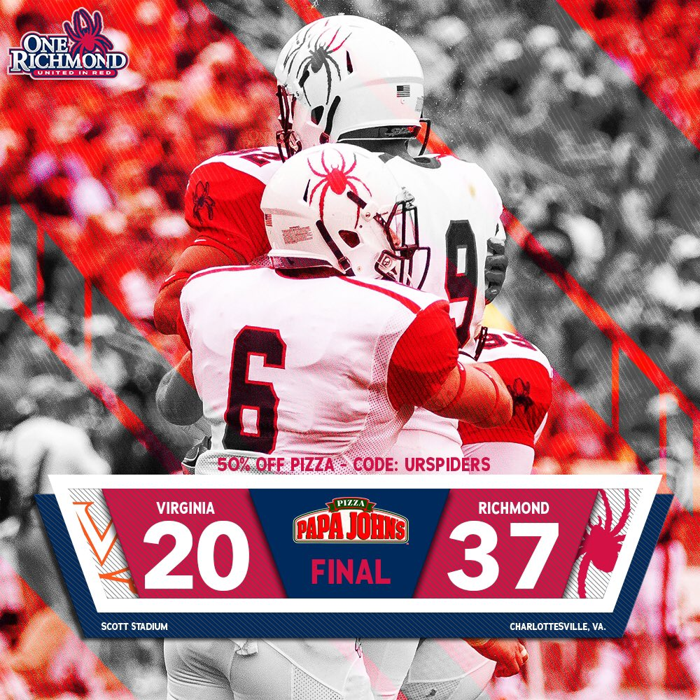 .@SpiderFootball defeats Virginia 37-20 in Charlottesville to open the season! #OneRichmond https://t.co/VCxLeZBDUd