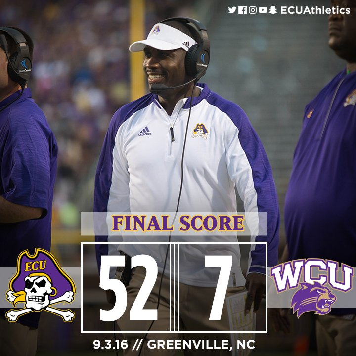 The Coach Mo Era has officially begun with a 52-7 @ECUPiratesFB win over Western Carolina! #ECUndaunted https://t.co/gZG05Q2ZeK