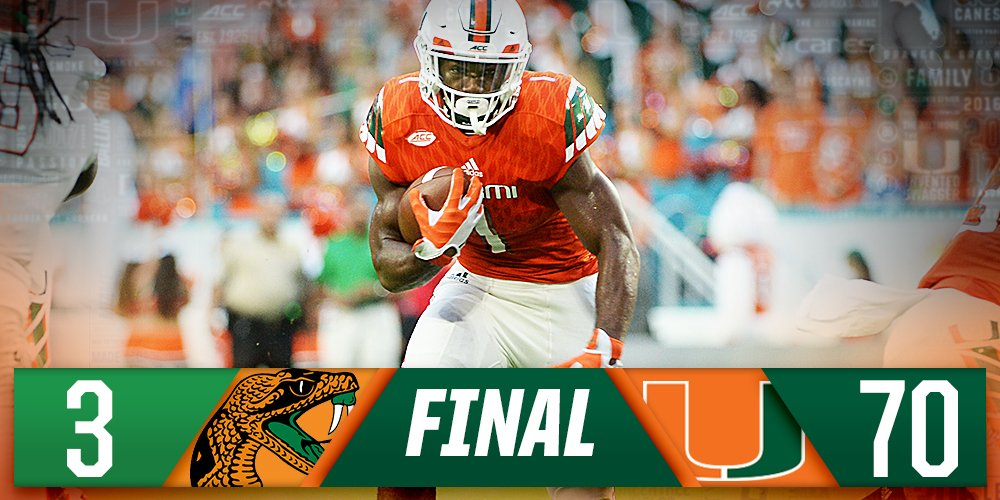 Miami Hurricanes On Twitter Final Score From Hardrockstadium