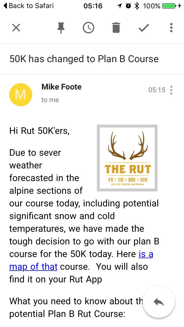 Plan B course for #Rut50K today. Safety first! @Skyrunning_com @iRunFar https://t.co/HKFY4F1eBL