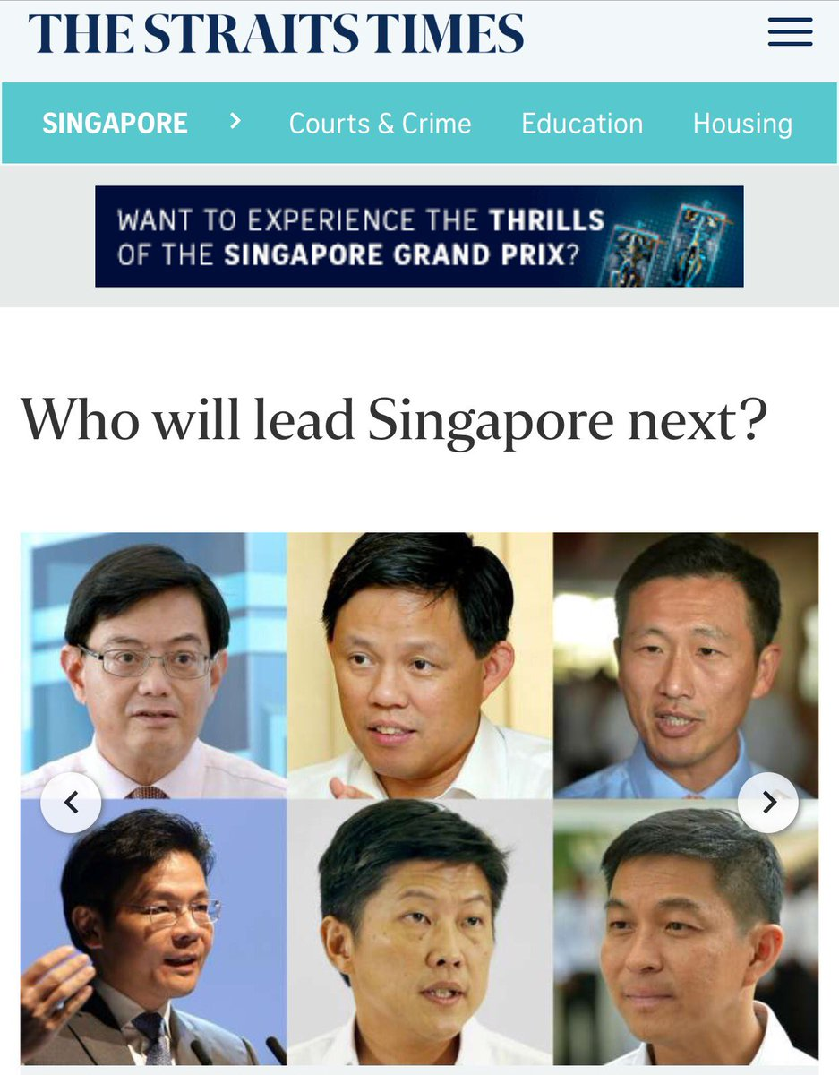 Ah, Singapore politics. Suddenly super concerned abt minority representation, but all contenders for PM are Chinese. https://t.co/XGD0jGktHL
