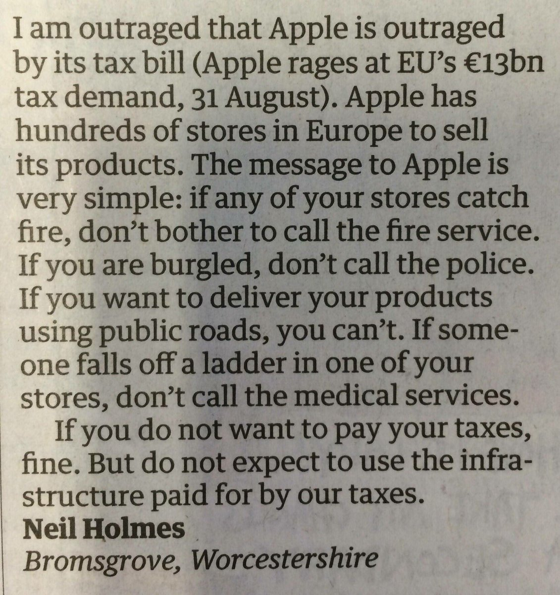 RT @JamesMelville A brilliant letter. If Apple don't want to pay tax, they shouldn't use the public services paid for by tax.