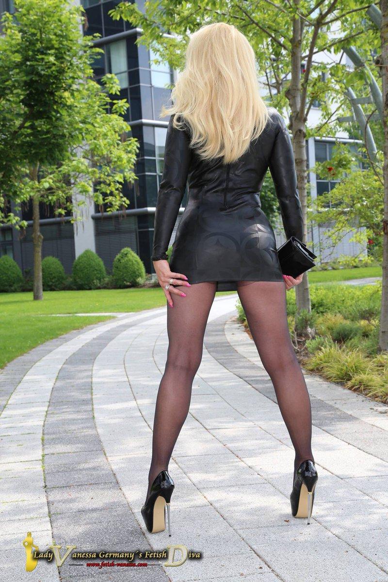 Leather skirt fetish mistress