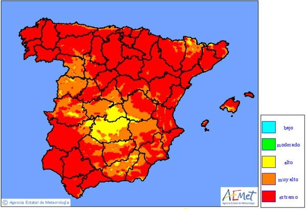 Riesgo EXTREMO de incendios en gran parte de la península y Baleares. Todos somos responsables de evitarlos. https://t.co/iysS7TCkOf