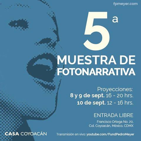 ESTA SEMANA ¡Asiste a la 5a MUESTRA DE FOTONARRATIVA! 8, 9 y 10 de septiembre ENTRADA LIBRE https://t.co/HaHNOco31S https://t.co/FL3qpcYu8f