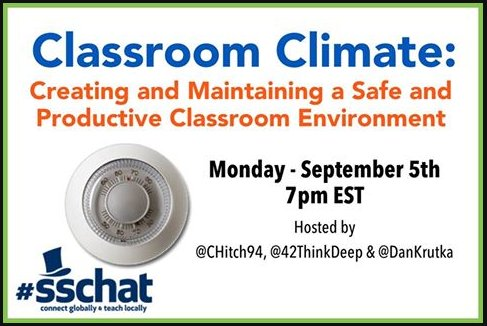 Welcome to tonight's #sschat on classroom climate. Please introduce yourself (where you live, what you teach, etc.) https://t.co/CzNZ9ynv1V