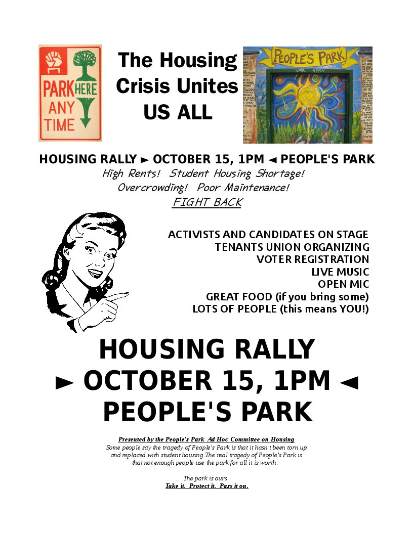 Housing Rally - Fight Back @ People's Park | Berkeley | California | United States