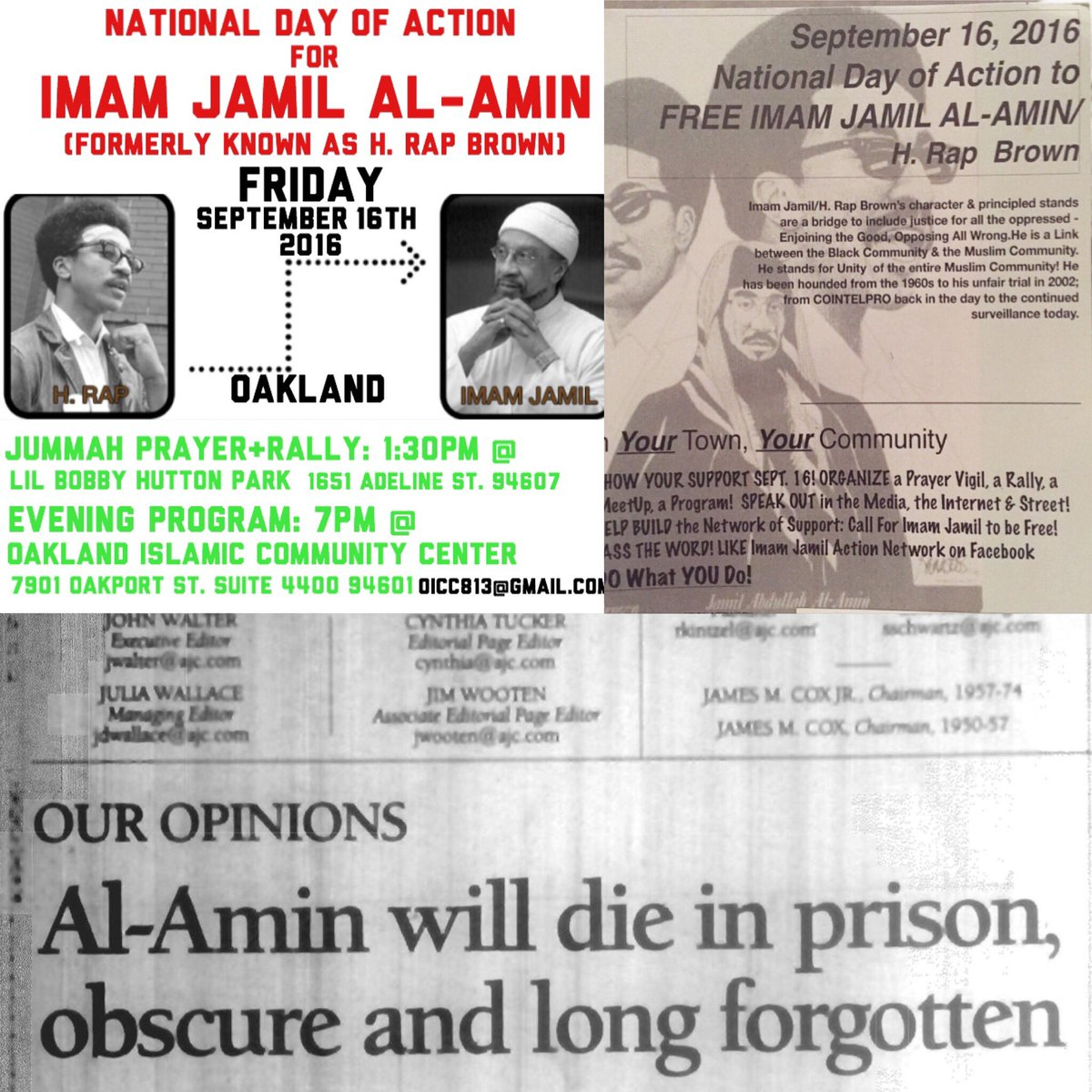 National Day of Action for Imam Jamil Al-Amin (H. Rap Brown) @ Lil Bobby Hutton Park | Oakland | California | United States