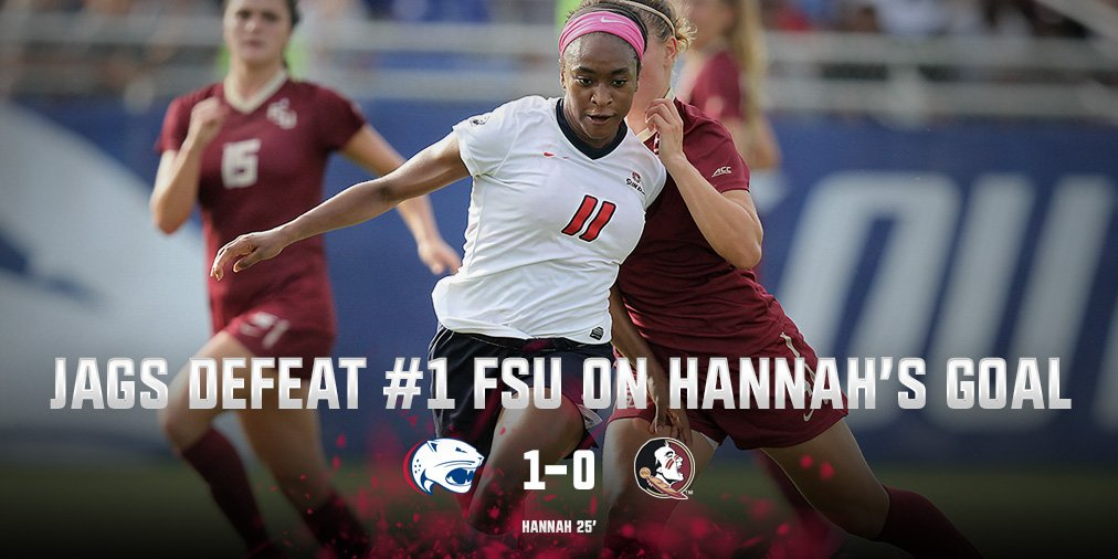.@chaardeezus scores, @SouthAlabamaSoc holds off No. 1 FSU #JagNation https://t.co/XY0ZidO3Yy
