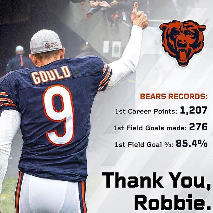 Thanks for being such a great teammate and a badass kicker! #clutch #bears #robbie @RobbieGould09 https://t.co/AMiYppbp9I