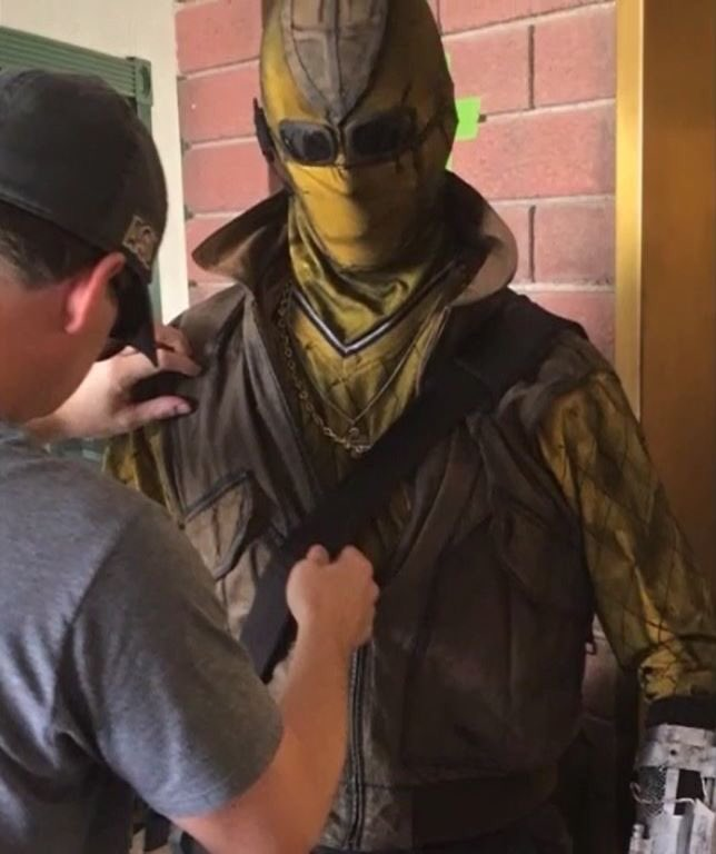 Close-up of the Shocker costume.