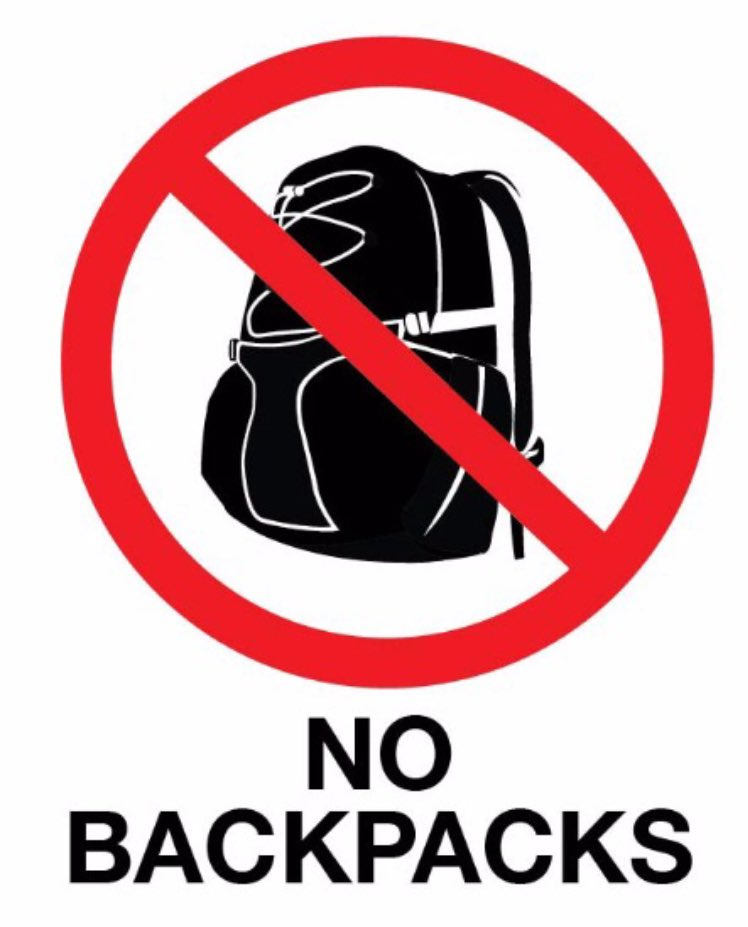 No backpacks at the airport please. It's like two humans - one being swung around on the other's back. #traveltips