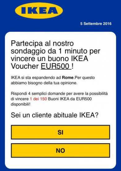 Il falso voucher Ikea da 500€ in regalo
