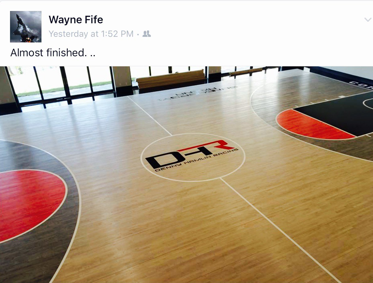 Wayne fife on twitter today 39 s completion denny hamlin for Personal basketball court