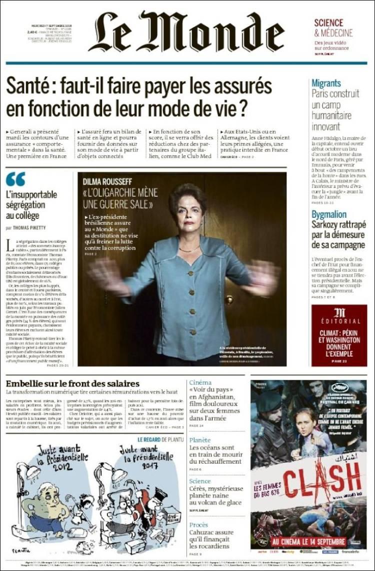 A Búlgara na capa do Le Monde. Michelzinho se muerde. https://t.co/rZ9wkZ64f7