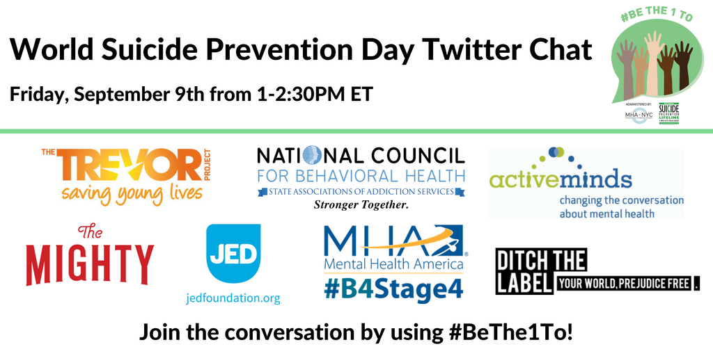Be sure to join @800273TALK & partners for #Bethe1To chat in honor of World #SuicidePrevention Day #NSPW16 #spsm https://t.co/tfi4gc3tph