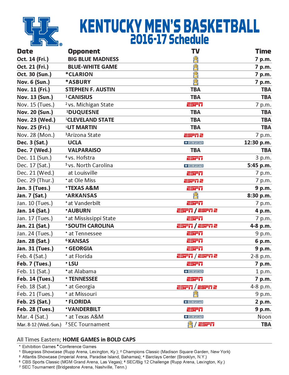 image regarding Uk Basketball Schedule -16 Printable titled The Kentucky Basketball Program is Comprehensive Kentucky