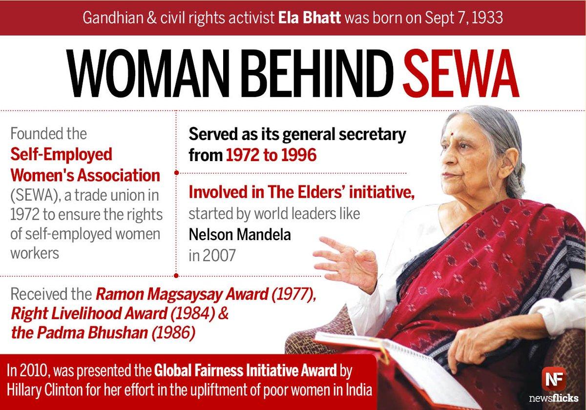 "Newsflicks on Twitter: ""Founder of SEWA & recipient of the Magsaysay Award, Ela Bhatt was born on Sep 7, 1933… """