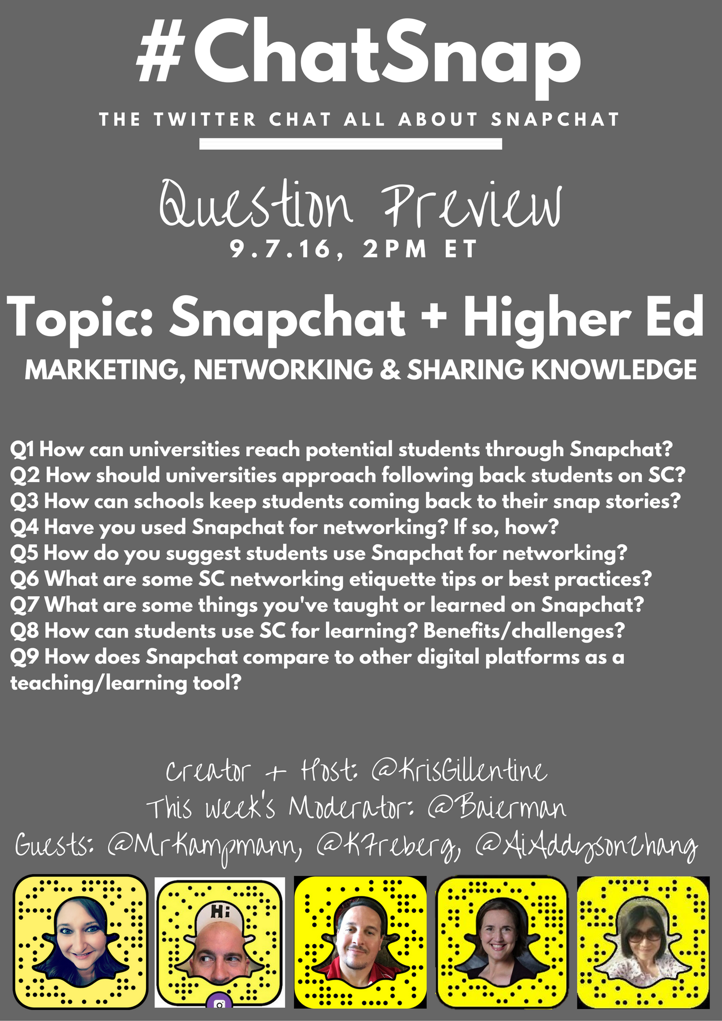 #ChatSnap starts in 5 minutes! Here's a look ahead at today's chat! @mrkampmann @aiaddysonzhang @kfreberg @Baierman https://t.co/bHjGuCt20h
