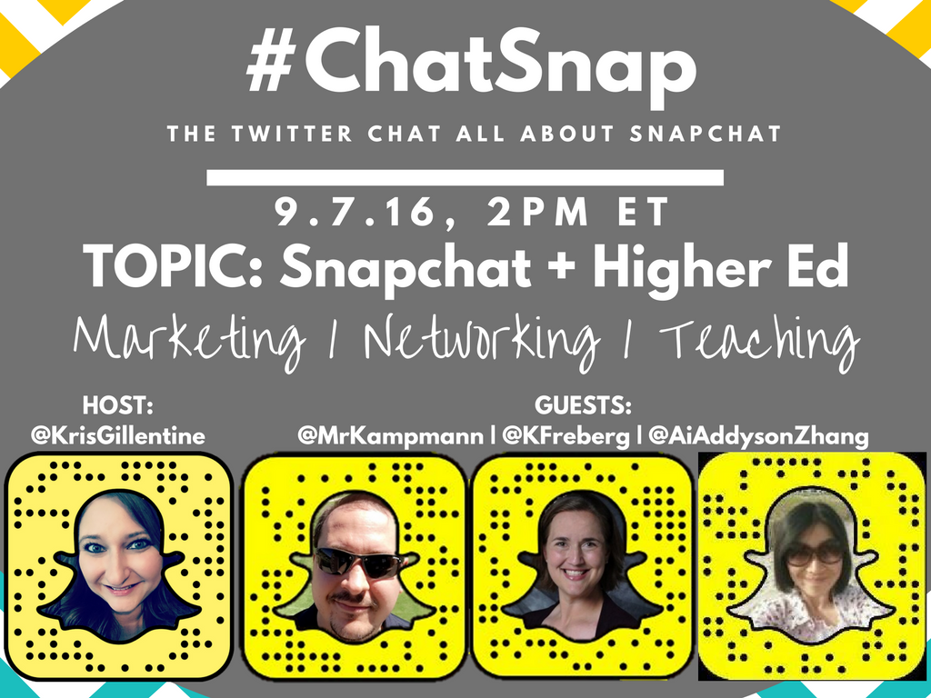 I'm THRILLED to have 3 expert guests with us today - @mrkampmann @kfreberg and @aiaddysonzhang! #chatsnap #highered https://t.co/xMvp38eg4L
