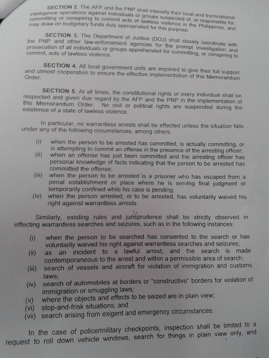warrantless search and seizure memorandum