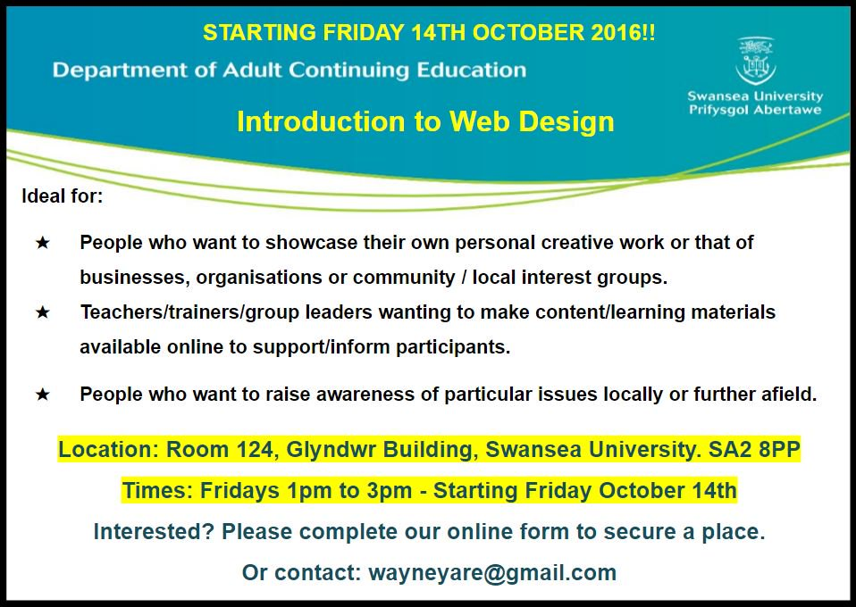 Need to get a website up and running? Join our web course. Register here-> goo.gl/forms/dQUdIA0T… @DACE_SwanseaUni