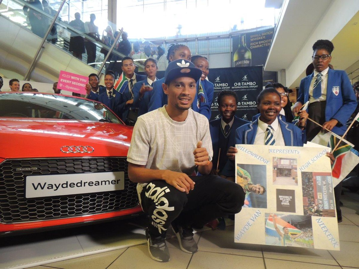 This morning we welcomed @WaydeDreamer at @ortambo_int. @audisouthafrica had a wonderful surprise waiting for Wayde! https://t.co/dEdeSphXWg