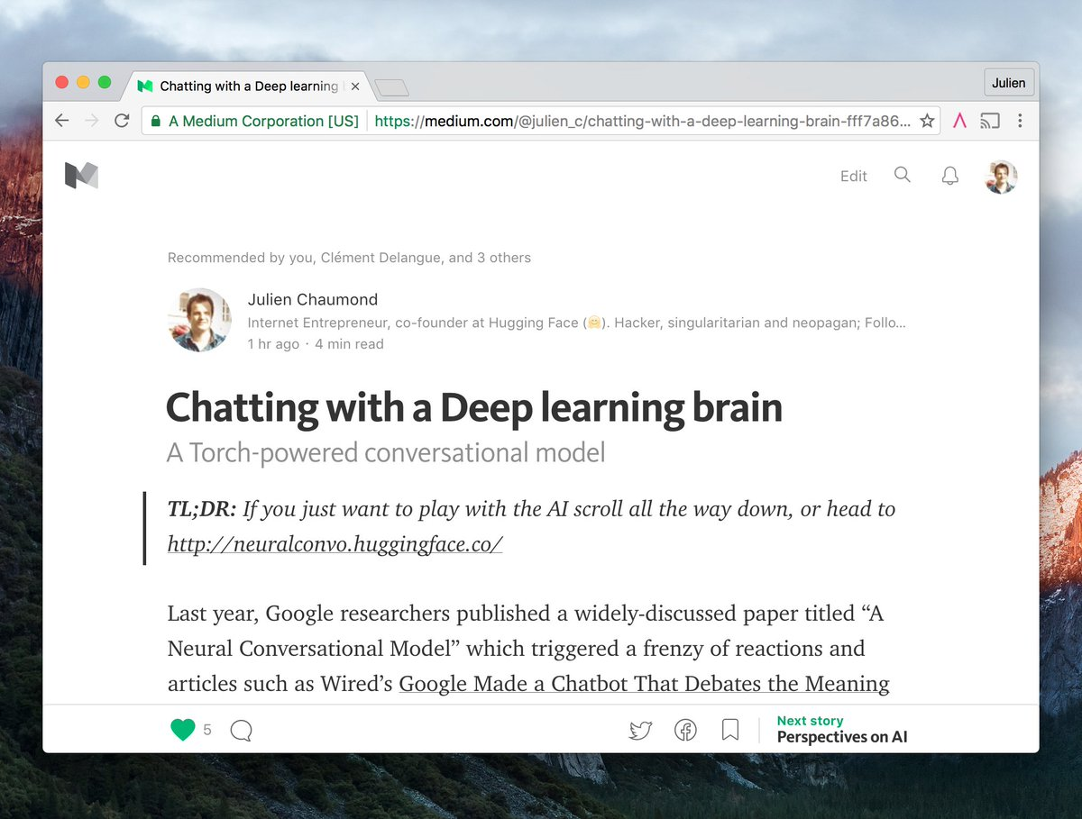 Chatting with a Deep learning brain. A Torch-powered conversational model