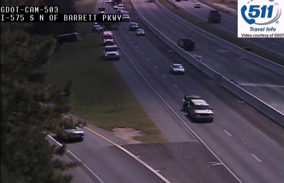 Cobb co: rollover crash   i-575/nb at barrett pkwy  right