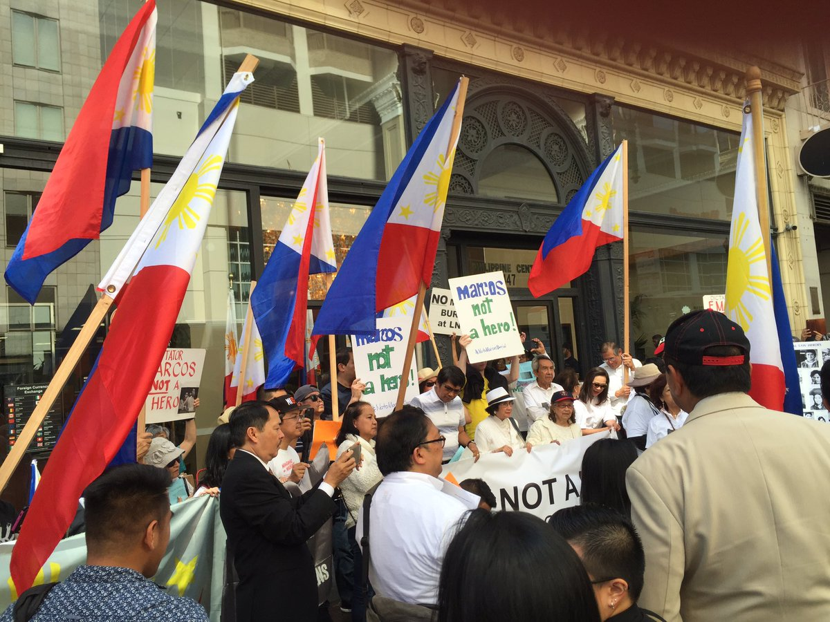 Filipino Americans in San Francisco protest vs planned hero's burial for former Philippine Pres Ferdinand Marcos https://t.co/pDSkZTOhwl