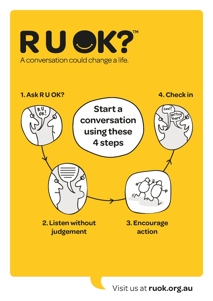 "Today is #RUOKDay and a reminder to ask a simple question that can make a difference, ""#RUOK?"" https://t.co/2sukvJbnnn"
