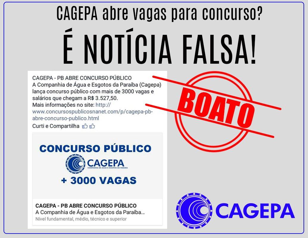 A notícia sobre um novo concurso público da Cagepa é falsa. Não compartilhe esse boato. https://t.co/keuCdBnUSu