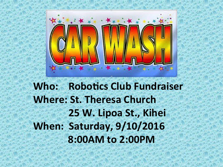 Robotics Car wash Fundraiser! Sat, 9/10, 8 a.m. - 2 p.m. #NoTimeForGrime pic.twitter.com/hPE58klWDs