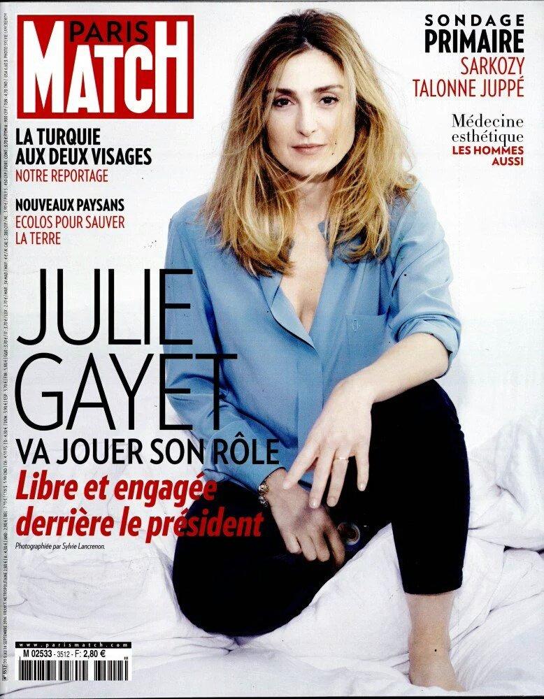 Julie Gayet en Une de #ParisMatch et #LeParisienMag  pour ceux qui douteraient de la candidature #Hollande #plancompic.twitter.com/IydNSswzqk