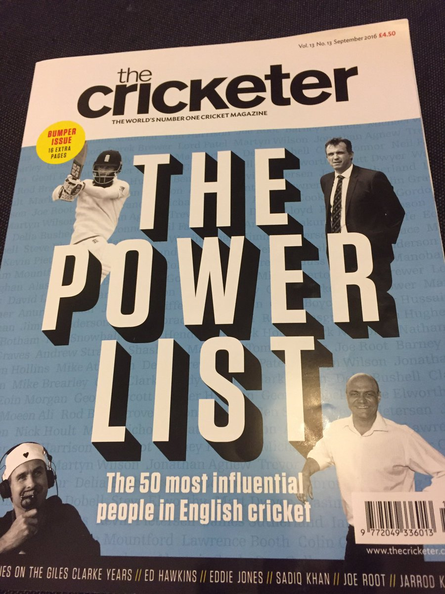 Some excellent articles in the current @TheCricketerMag https://t.co/ibwMfJ2Cga