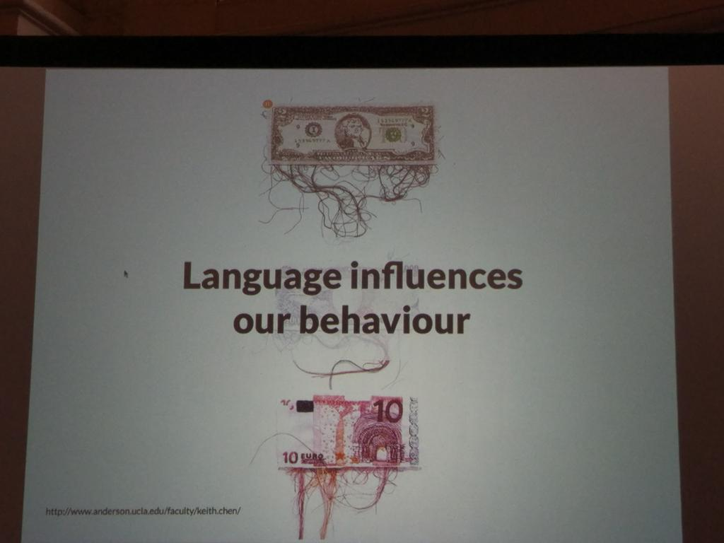 Clever lightning talk about language influencing perception and behavior by Clementina Gentile #euroia16 https://t.co/d089s7Z4Gg