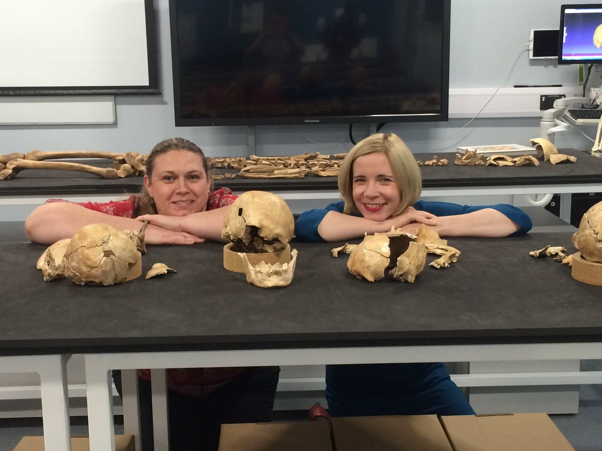 Entertaining afternoon filming with @Lucy_Worsley. Towton skeletons in staring role. I may have cameo