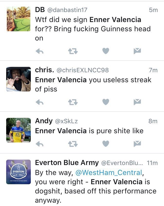 "Remember when @JimWhite said ""Good news for Everton fans, Enner Valencia has signed on loan.."""