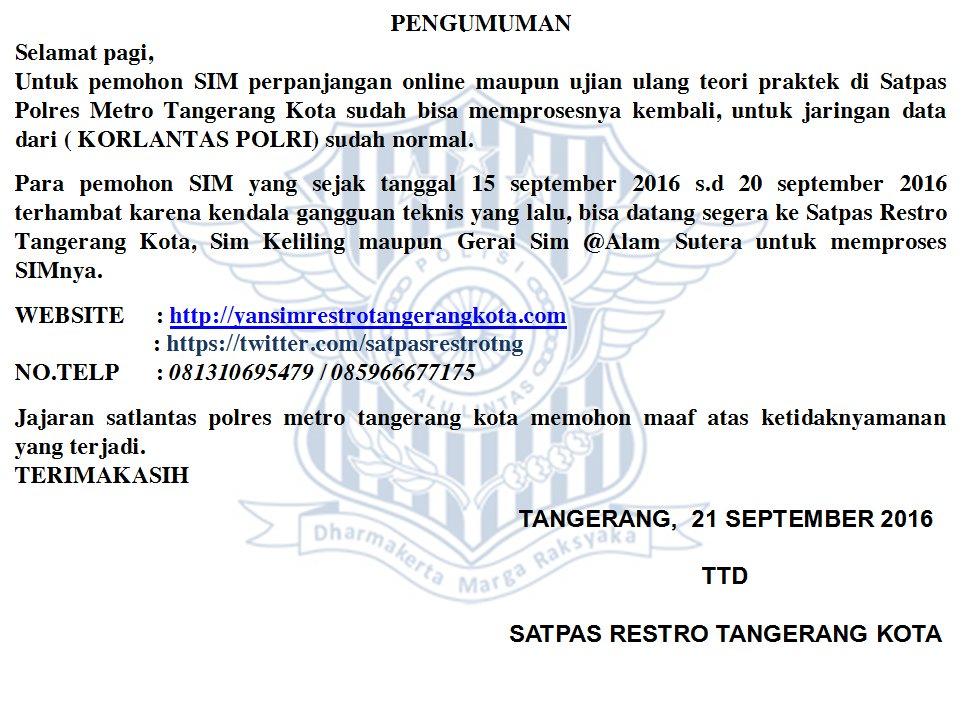 Jadwal SIM Keliling Tangerang Juni 2019