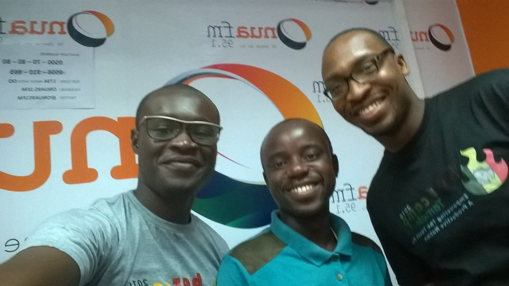Met GVP Accra lead @niiokai_tetteh @Onua95.1fm. Thanks for the groufie featuring @Ghanathink's  @Abocco #NVDay16 https://t.co/QCRjkQbf8W