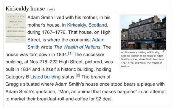 Adam Smith's house in Kirkcaldy is now a Greggs. https://t.co/hje164V6Bp