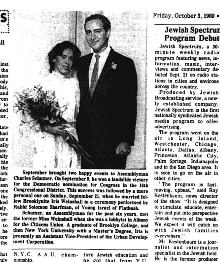 Menachem Butler On Twitter Happy 36th Wedding Anniversary To Senschumer And Iris Weinshall Iris weinshall is an american public service official, and wife of us senator, chuck schumer. happy 36th wedding anniversary