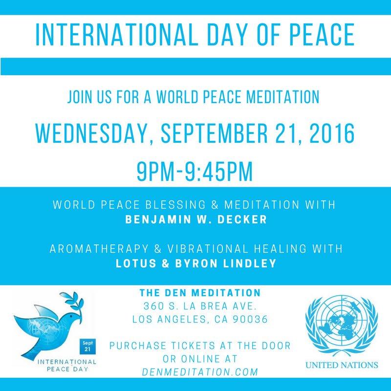 Tonight! #meditate to celebrate #internationaldayofpeace with @BenDecker at @DENmeditation https://t.co/UZg0kackrk