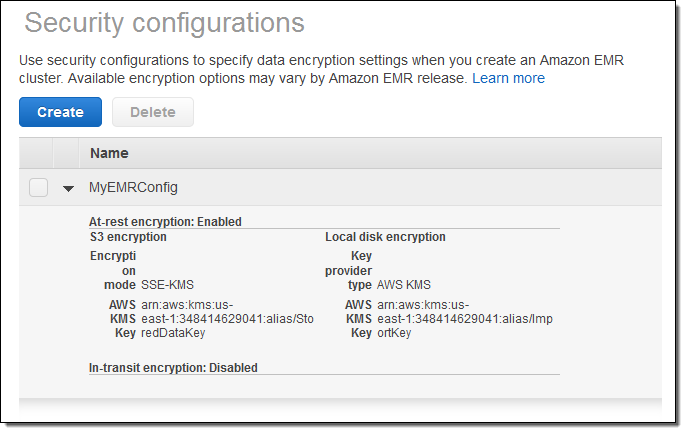 Additional At-Rest and In-Transit Encryption Options for Amazon EMR