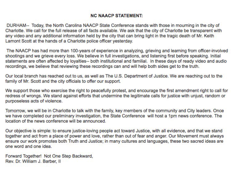 North Carolina Naacp On Twitter Nc Statement Officer Involved Shooting In Charlotte Keithlamontscott