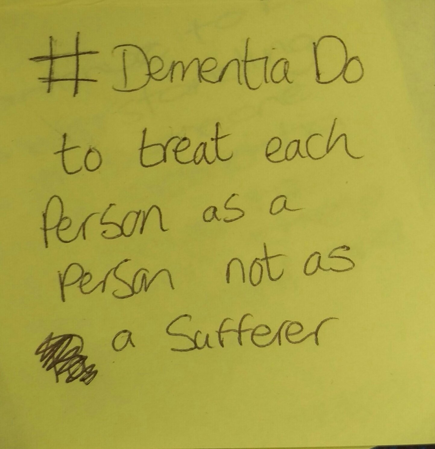 "Today's #dementiado post-it   ""To treat each person as a person not as a sufferer""  Brilliant, well said.  #FabChangeDay https://t.co/VMbcvCCKIs"