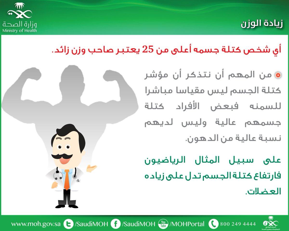 و ز ا ر ة ا لـ صـ حـ ة السعودية A Twitter مؤشر كتلة الجسم لا يعتبر مقياسا مباشرا للسمنة توعية صحة